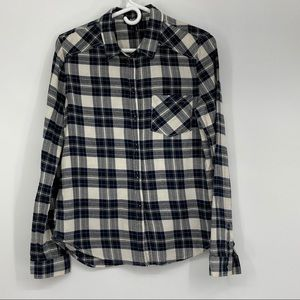 Paige Size Small Deep Blue & White Flannel Shirt